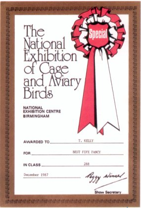 Award Certificate from the National Caged Bird Show